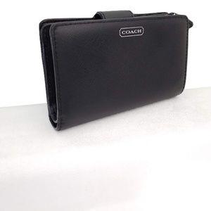 Coach women black patent leather wallet